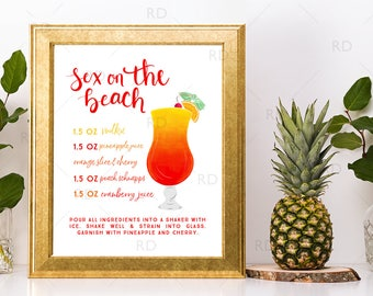 Sex on the Beach Cocktail with Recipe - PRINTABLE Wall Art / Cocktails Mixed Drinks Wall Art / Hand Drawn Cocktails / Cocktails