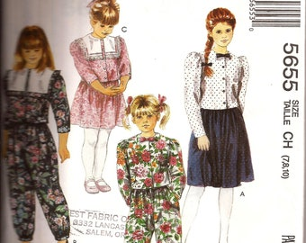 Girls Cottage Button Front Crop Top with Collar,  Pants and Skirt Pattern / McCalls 5655 / Size 7 - 8 - 10 / UNCUT
