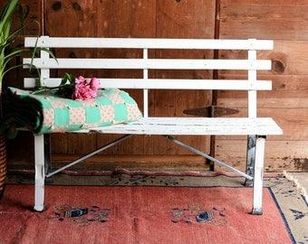 Vintage Park Bench, Garden Bench, Outdoor Bench, Farmhouse Porch Bench,  Rustic Wood
