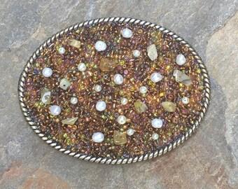 beaded belt buckle embellished belt buckles earth tones bohemian antiqued brass buckle freshwater pearls women's buckle oval belt buckle