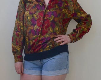 Silk, moody colored floral print silky long sleeved top- S/M