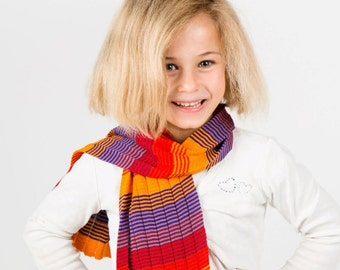 Personalised Scarf, Red Scarf, Orange Scarf, Striped Scarf, Girls Scarf, Winter Scarf, Kids Accessories, Neck Warmer, 318
