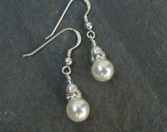 Pearl drop Bridal earrings Sterling Silver double pearl drop & rhinestone wedding earrings vintage classic bridal jewellery wedding jewelry