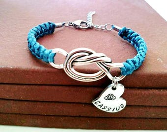 Love My Dog Personalized Hand Stamped Love Knot Bracelet You Choose Your Cord Color(s)