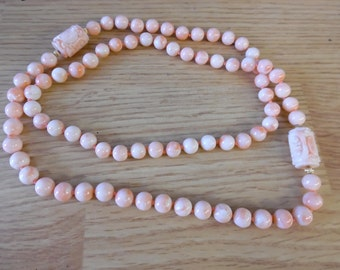 "Angel Coral Bead Necklace Long  30"" long"