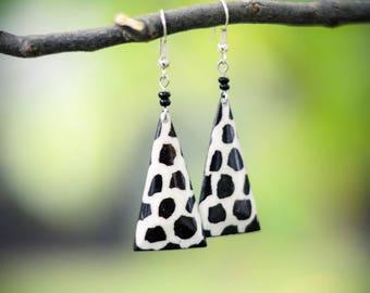 Black and White Animal Print Earrings Handmade in Kenya