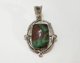 Chrysoprase, Wire Wrapped, Pendant, Sterling Silver, Green, .925 Sterling Silver, Necklace, Beading, Jewelry, Supply