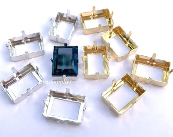 Rectangle Sew-On Setting 18x13mm Rhodium / Gold Plated Fits Swarovski Crystal 4527 Step Cut, 4 pieces