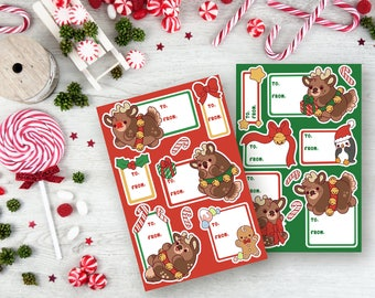 Reindeer Gift Tag Sticker Sheets - Christmas Stickers - (Kawai Chubby Cute Holiday planner scrapbook tags ) (Pack of 2)