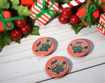 Kawaii Krampus Christmas Pinback Button or Magnet
