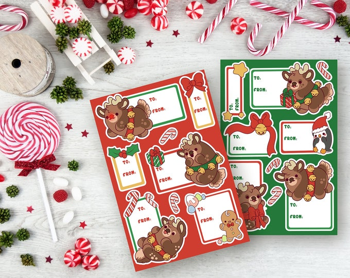 Featured listing image: Reindeer Gift Tag Sticker Sheets - Christmas Stickers - (Kawai Chubby Cute Holiday planner scrapbook tags ) (Pack of 2)
