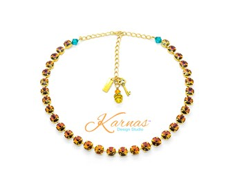 WARM AUTUMN NIGHTS Crystal Volcano 8mm Necklace Made With Swarovski Crystal  *Pick Your Finish *Karnas Design Studio *Free Shipping