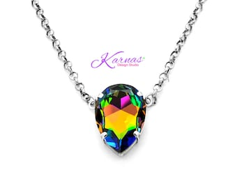 COLOR MY WORLD 30x20mm Pear Necklace Made With Swarovski Crystal *Choose Your Finish *Karnas Design Studio™ *Free Shipping*