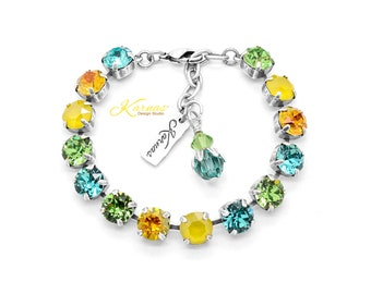 SPRING PINE 8mm Lobster Clasp Bracelet Made With Genuine Swarovski Crystal *Choose Your Finish *Karnas Design Studio™ *Free Shipping*