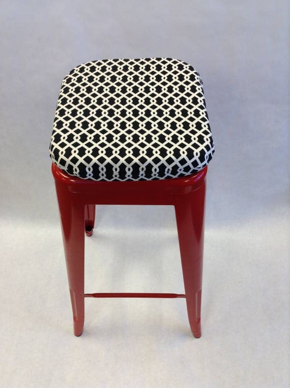 Square Bar Stool Cushion Black And White Buffalo Check Bar