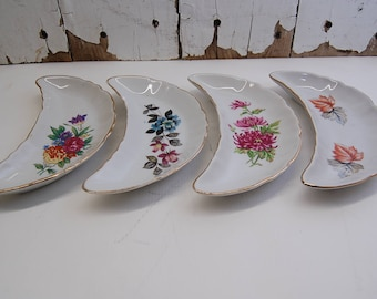 set of 4 BONE PLATES vintage mismatched floral dishes china for art project gold rimmed crescent shaped antique shabby chic romantic gift