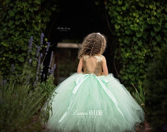 Angelica Mint Flower Girl Dress, Mint and Gold Sequin Flower Girl Dress