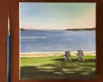 """Ode to Summer • Lakeside • Original Artwork • Landscape • 6"""" x 6"""" Small Painting"""