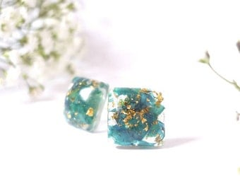 Botanical Earrings - Real Flower Jewelry - Teal Earrings - Botanical Resin Earrings - Dainty Earrings - Botanical Studs - Gold Flakes