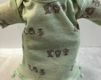 "Cabbage Patch NEWBORN 12 inch Doll Clothes, Adorable ""TEDDY BEARS"" Nightgown, 12 inch Newborn Doll Clothes Nightgown, Love Teddy Bears!"