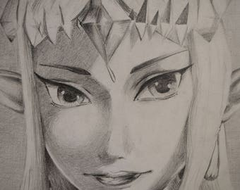 "Graphite Drawing of Zelda // 14""x17"" // Video Game Fans // Gaming // Fan Art"