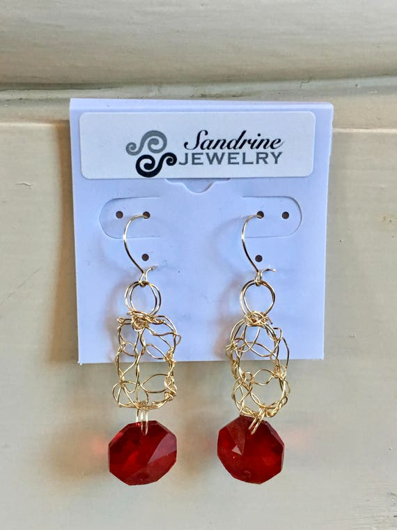 Earrings - gold filled wire crochet with red chandelier crystal hexagonal prism