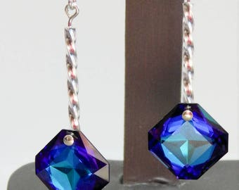 Heliotrope Comet Twisted Sterling Bar Square Drops with Swarovski Crystal