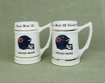 Chicago Bears Super Bowl XX Beer Mug - Collectible 1985 NFL Beer Stein, Football Helmet Superbowl XX Champions, Father's Day Gift, Mens Gift