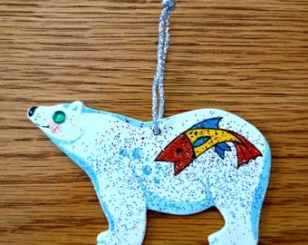 Christmas Polar Bear Ornament - Hand Painted - One of a Kind