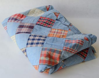 BTY Vintage Patchwork Fabric Plaid ChambrayCotton  -B10-HH-47