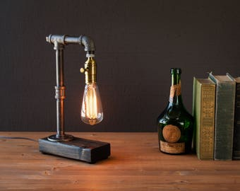 Industrial Lighting - Steampunk Lamp - Table Lamp - Edison Light - Vintage Light - Pipe Lamp - Bedside Lamp - Rustic Light - Loft Lighting