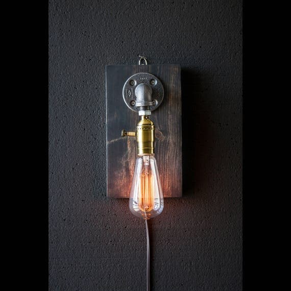 Plug in Wall Sconce Lamp-Rustic decor-Sconce lamp-Industrial Lighting-Steampunk lamp-Housewarming Gift for men-Bedside lamp-Farmhouse Decor