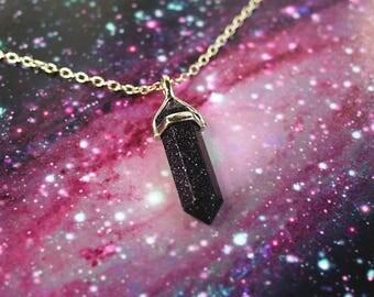 Blue Sandstone Crystal Necklace or Choker Chain / Blue Sandstone Necklace / Pastel Goth Starry Crystal Point Gem Necklace Crystal Choker