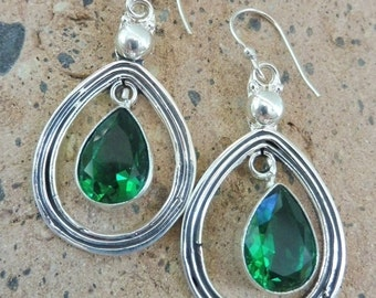 Bold Statement Earrings, Chrome Diopside Earrings, Green Stone Earrings, Gemstone Earrings, Hypoallergenic Sterling Silver, Gift Idea