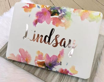 """Script Name Floral MacBook Hard Case   Personalized   Air 11"""" 13""""   Pro 13"""" 15""""   Retina   Touch Bar   12"""""""