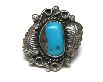 Sterling Navajo Turquoise Feather Ring Size 5