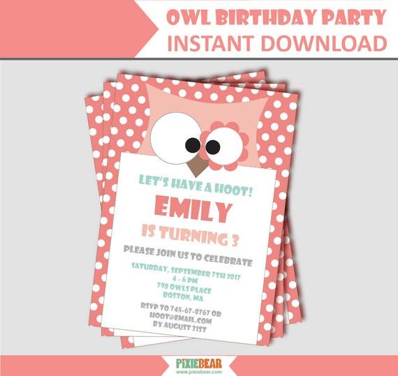 owl birthday party invitation owl party invitation owl