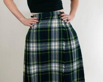 70s Blue and Green Tartan Plaid Kilt Skirt, Wool High Waist Skirt, Blarney Woollen Mills, Raw Hem, Size XXS / XS Extra Small