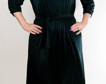1970s Black Disco Dress, Shiny Black Dress, Semi Sheer Dress, Belted Dress, Flare Dress, Ruched Sleeves