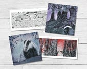 Badger Cards - Mixed Pack of Badgers Greetings Cards by Dorset Artist Sam Cannon (4 cards, 4 designs)