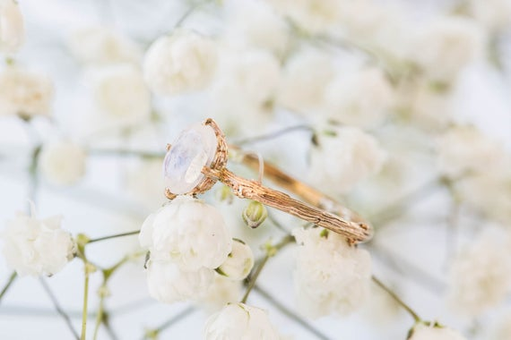 Moonstone 14k gold classic engagement ring, solitaire moonstone engagement ring, vintage inspired twig engagement ring