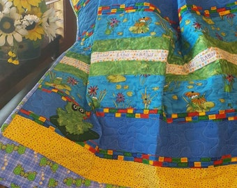 Baby Boy Quilt, Frog Baby Quilt, Turtle Baby Quilt, Baby Shower Gift, Baby Quilt, Baby Bedding, Blue Baby Quilt, Blue and Yellow Baby Quilt