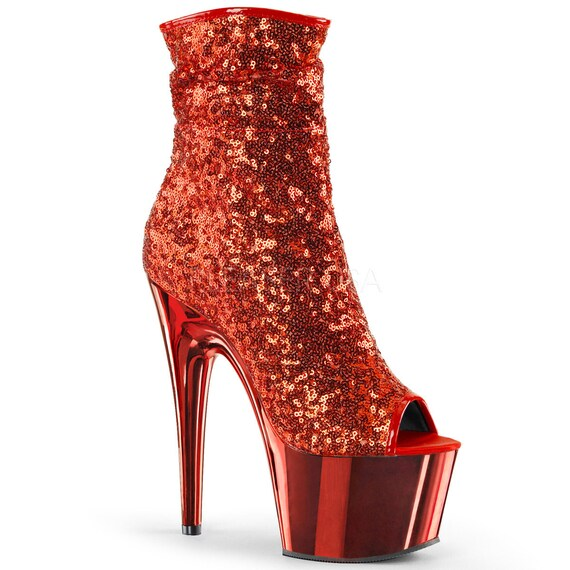 Sexy Red Sequin Ankle Mid-Calf Boots
