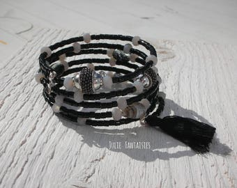 Boho chic bracelet * black, gray and silver * Bracelet shape memory