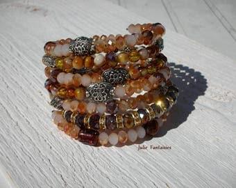 Boho chic bracelet * amber, gold, Brown, beige * Bracelet shape memory