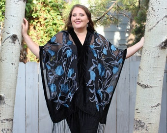Blue Floral Burnout Velvet Shawl Top