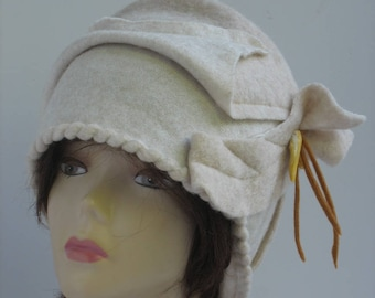 Designer Hat Boho Hat Flapper Hat white wool Cloche Hat Retro Hat handmade art white hat womens Garden Party white Cloche Hat Gift For Her