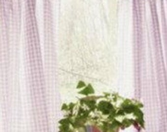 Lavender Gingham Curtains - Plaid Curtains - Country Curtains - Checked Drapes - Curtains - Gingham Drapes - Set of 2