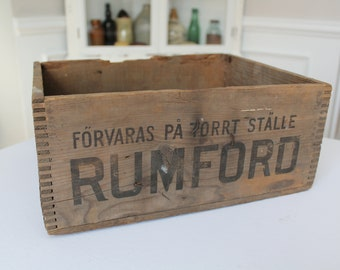 Rare Swedish Rumford Baking Powder Bakpulver Wooden Crate Box