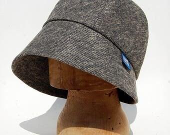 Womens tweed hat  Tweed cloche hat  Tweed designer hat  Grey bucket hat womens soft hat  handmade tweed hat  ZUTbrigitte cotton rain hat